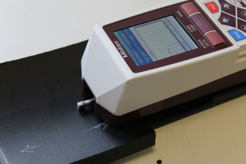 Surface roughness tester with pipe internal surface check in progress
